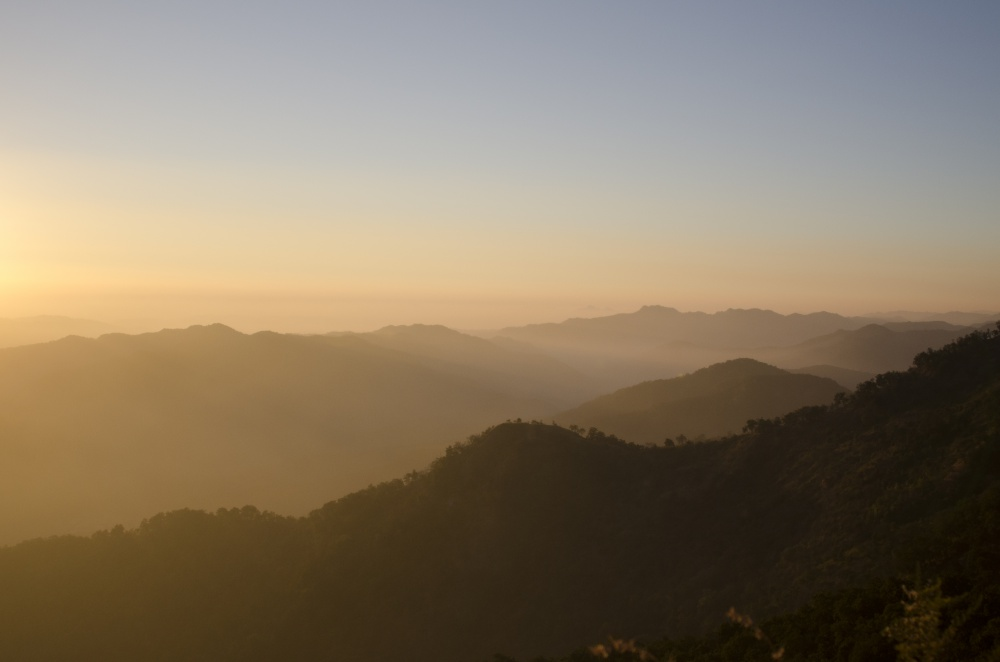 View of the tapu and surrounding forests as the sun goes down